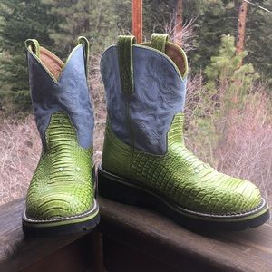 Ariat Fat Baby Boots Neon Green and Baby Blue 9.5B